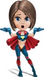 Cute Superhero Girl Cartoon Vector Character AKA Gamma Rey - Lost 2