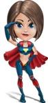 Cute Superhero Girl Cartoon Vector Character AKA Gamma Rey - Salute
