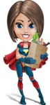 Cute Superhero Girl Cartoon Vector Character AKA Gamma Rey - Food Stuff