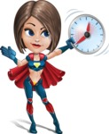 Cute Superhero Girl Cartoon Vector Character AKA Gamma Rey - Time is Yours
