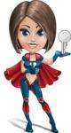 Cute Superhero Girl Cartoon Vector Character AKA Gamma Rey - Key
