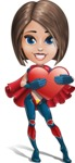 Cute Superhero Girl Cartoon Vector Character AKA Gamma Rey - Love