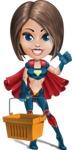 Cute Superhero Girl Cartoon Vector Character AKA Gamma Rey - Shopping