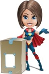 Cute Superhero Girl Cartoon Vector Character AKA Gamma Rey - Delivery 1