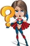 Cute Superhero Girl Cartoon Vector Character AKA Gamma Rey - Question