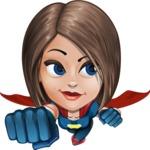 Cute Superhero Girl Cartoon Vector Character AKA Gamma Rey - Fly 2