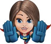 Cute Superhero Girl Cartoon Vector Character AKA Gamma Rey - Fly 3