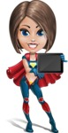 Cute Superhero Girl Cartoon Vector Character AKA Gamma Rey - Tablet 1