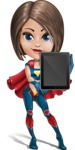 Cute Superhero Girl Cartoon Vector Character AKA Gamma Rey - Tablet 2