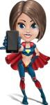 Cute Superhero Girl Cartoon Vector Character AKA Gamma Rey - Mobile Phone