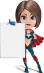 Cute Superhero Girl Cartoon Vector Character AKA Gamma Rey - Presentation 2