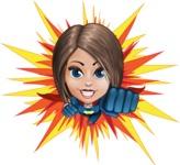Cute Superhero Girl Cartoon Vector Character AKA Gamma Rey - Shape 3