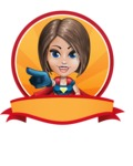 Cute Superhero Girl Cartoon Vector Character AKA Gamma Rey - Shape 4