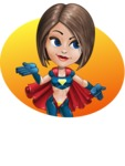 Cute Superhero Girl Cartoon Vector Character AKA Gamma Rey - Shape 5