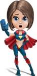 Cute Superhero Girl Cartoon Vector Character AKA Gamma Rey - GoodBye