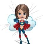 Cute Superhero Girl Cartoon Vector Character AKA Gamma Rey - Shape 9