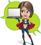 Cute Superhero Girl Cartoon Vector Character AKA Gamma Rey - Shape 10