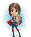 Cute Superhero Girl Cartoon Vector Character AKA Gamma Rey - Shape 11