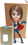 Cute Superhero Girl Cartoon Vector Character AKA Gamma Rey - Shape 12