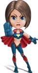Cute Superhero Girl Cartoon Vector Character AKA Gamma Rey - Angry 1