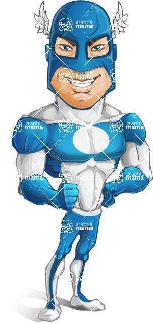Man in Superhero Costume Cartoon Vector Character AKA Sergeant Eagle - Confident