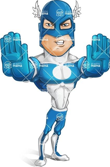 Man in Superhero Costume Cartoon Vector Character AKA Sergeant Eagle - Stop