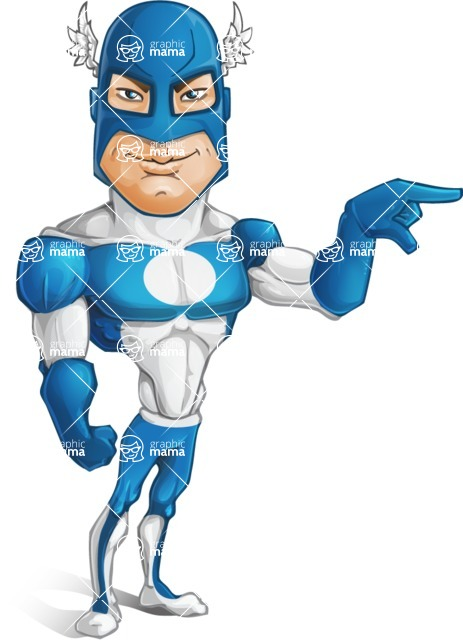 Man in Superhero Costume Cartoon Vector Character AKA Sergeant Eagle - Point