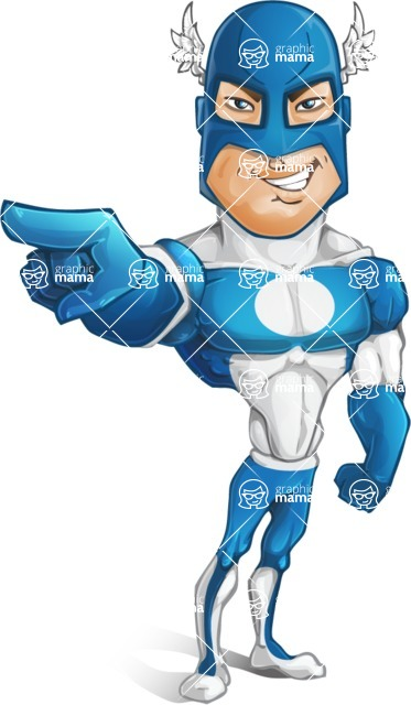 Man in Superhero Costume Cartoon Vector Character AKA Sergeant Eagle - Point3