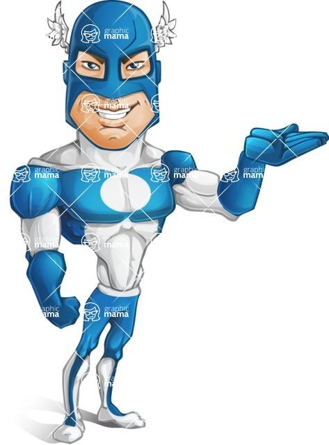 Man in Superhero Costume Cartoon Vector Character AKA Sergeant Eagle - Show2