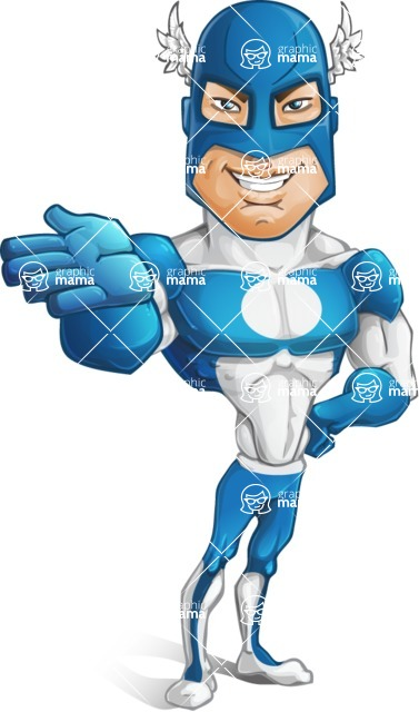 Man in Superhero Costume Cartoon Vector Character AKA Sergeant Eagle - Show5