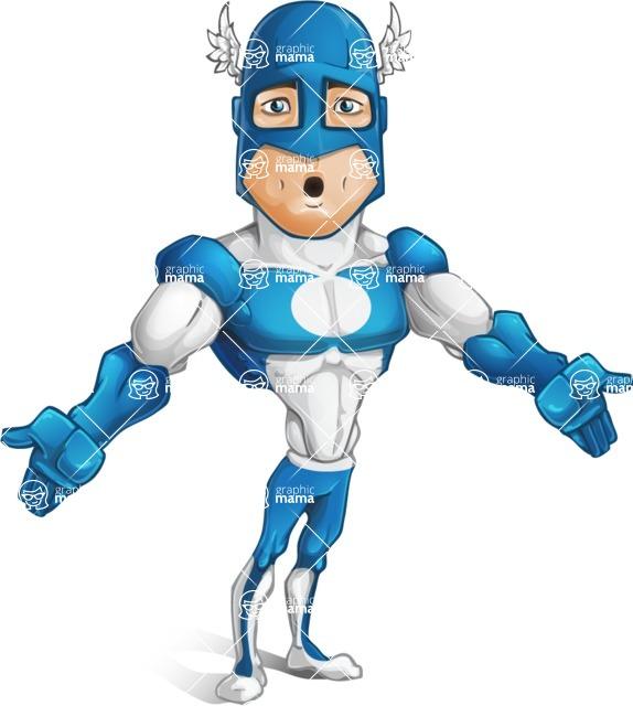 Man in Superhero Costume Cartoon Vector Character AKA Sergeant Eagle - Lost