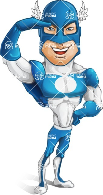 Man in Superhero Costume Cartoon Vector Character AKA Sergeant Eagle - Salute