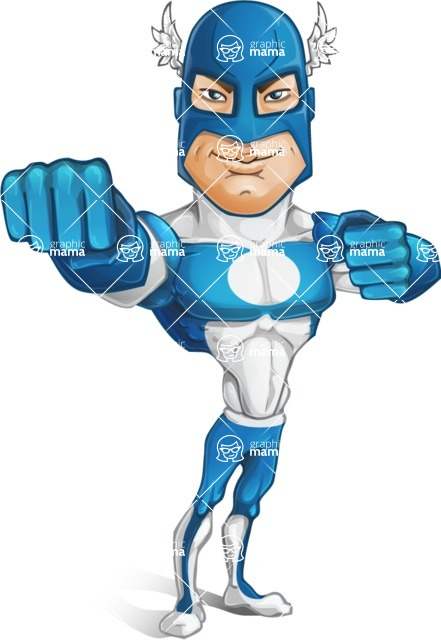 Man in Superhero Costume Cartoon Vector Character AKA Sergeant Eagle - Punch