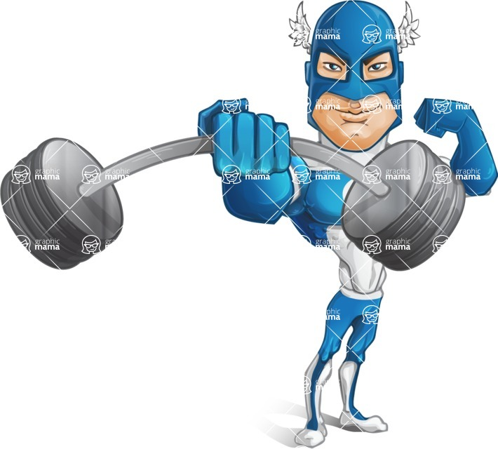 Man in Superhero Costume Cartoon Vector Character AKA Sergeant Eagle - Fitness