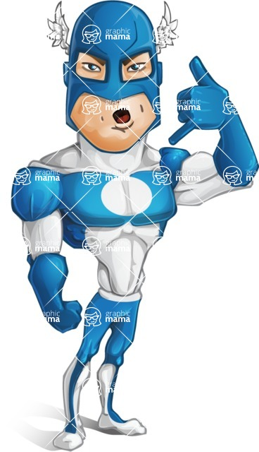Man in Superhero Costume Cartoon Vector Character AKA Sergeant Eagle - Support
