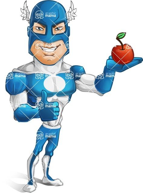 Man in Superhero Costume Cartoon Vector Character AKA Sergeant Eagle - Apple