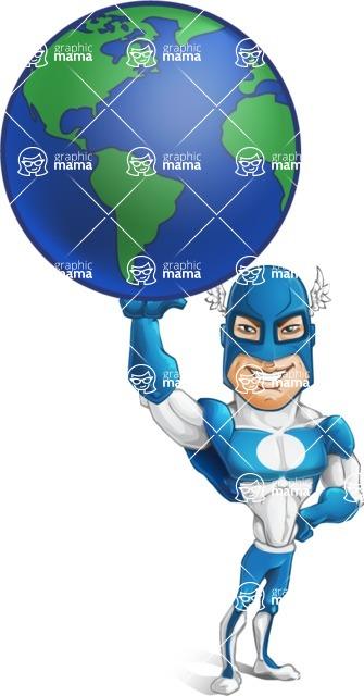 Man in Superhero Costume Cartoon Vector Character AKA Sergeant Eagle - Earth