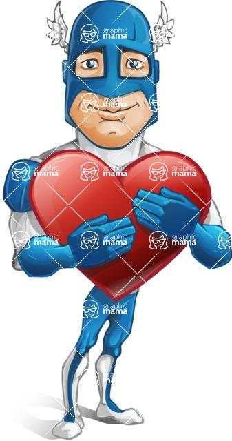 Man in Superhero Costume Cartoon Vector Character AKA Sergeant Eagle - Love