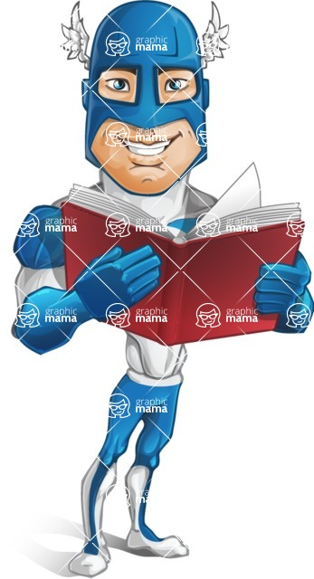 Man in Superhero Costume Cartoon Vector Character AKA Sergeant Eagle - Book