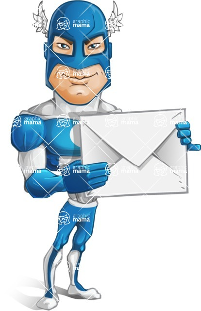 Man in Superhero Costume Cartoon Vector Character AKA Sergeant Eagle - Letter
