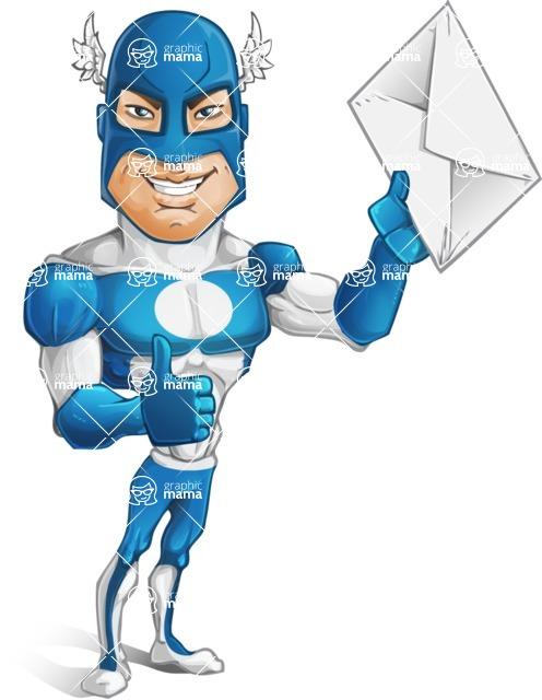 Man in Superhero Costume Cartoon Vector Character AKA Sergeant Eagle - Letter2