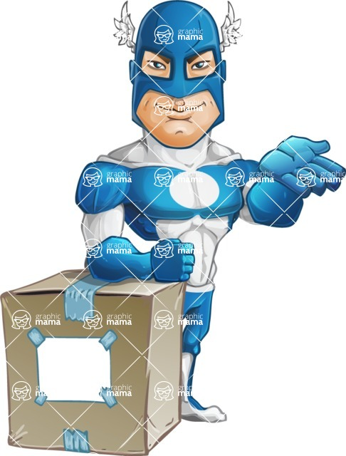 Man in Superhero Costume Cartoon Vector Character AKA Sergeant Eagle - Delivery
