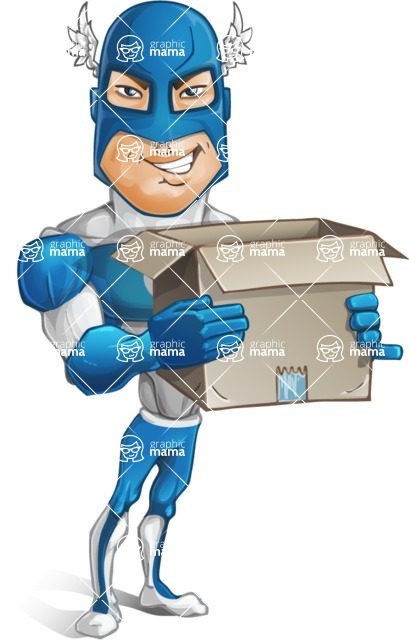 Man in Superhero Costume Cartoon Vector Character AKA Sergeant Eagle - Delivery2