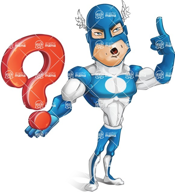 Man in Superhero Costume Cartoon Vector Character AKA Sergeant Eagle - Question