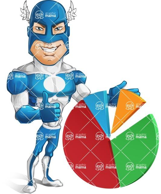 Man in Superhero Costume Cartoon Vector Character AKA Sergeant Eagle - Chart