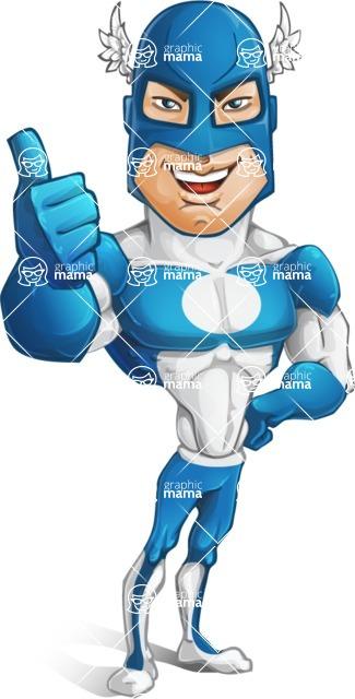 Man in Superhero Costume Cartoon Vector Character AKA Sergeant Eagle - Thumbs Up