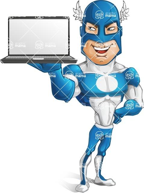 Man in Superhero Costume Cartoon Vector Character AKA Sergeant Eagle - Laptop