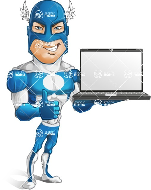 Man in Superhero Costume Cartoon Vector Character AKA Sergeant Eagle - Laptop2