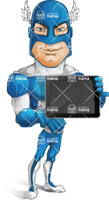 Man in Superhero Costume Cartoon Vector Character AKA Sergeant Eagle - Tablet