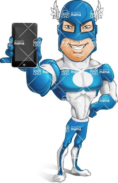 Man in Superhero Costume Cartoon Vector Character AKA Sergeant Eagle - Mobile Phone